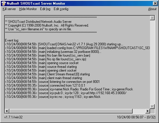 Рис 1.Nullsoft Shoutcast server monitor.JPG (173693 bytes)